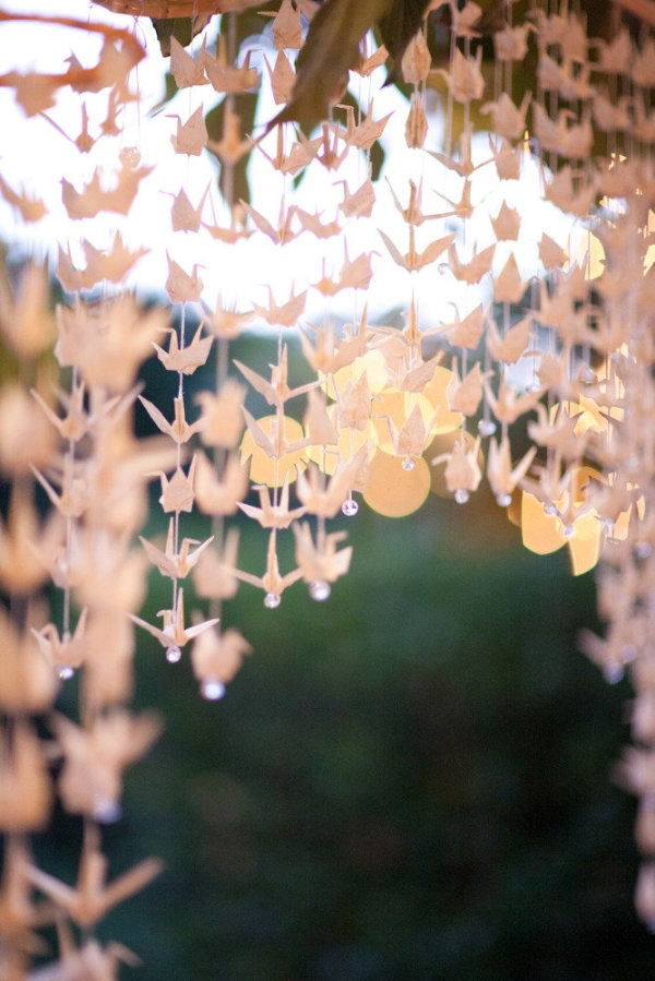 Hanging origami cranes - amazing for the wedding ceremony and/or reception! <3