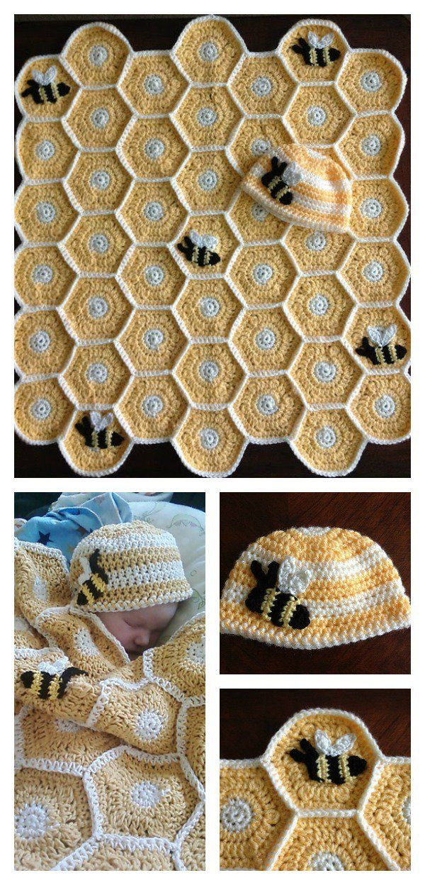 DIY Sweet As Honey Baby Blanket and Hat Set