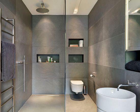 Banheiro com tons em cinza