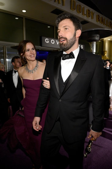 Oscar Winners Take Their New Statues to the Governors Ball: Amy Adams, Joseph Gordon-Levitt, and Charlize Theron posed together at the Governors Ball.: Ben Affleck and Jennifer Garner arrived at the Governors Ball together after the Oscars.
