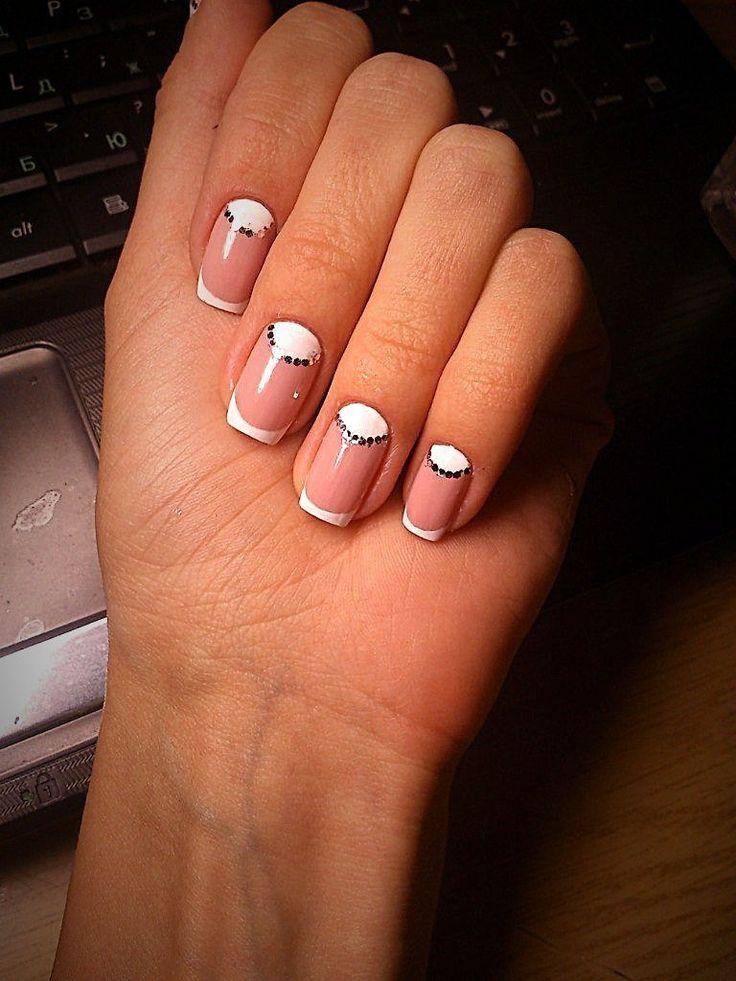 Beautiful nails 2016, French manicure ideas 2016, mix match nails, Moon French manicure, Nail sequins, Nails ideas 2016, Pale pink nails, Shellac nails 2016