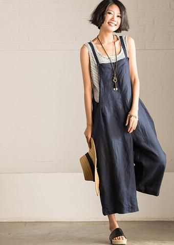 Art Causal Cotton Linen Two Colors Overalls Women Clothes