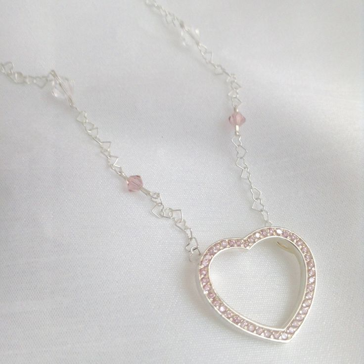 Blushing Heart  ~ 925 Sterling Silver Pendant and Heart Link Necklace by BecauseIamHappy on Etsy
