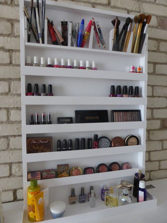The current turnaround time is 3-4 weeks! **************************************** -15% OFF if you purchase 2 non-custom items (over 30$ each) plus combined shipping - mirrors are excluded! Send me a message for extra details!  ******************************************  Beautiful extra large wall rack organizer for your makeup, your nail polishes or both of them! A top row with six clear pencil/brushes holders, four/five rows for your makeup or nail polishes and a larger bottom shelf, 5,1…