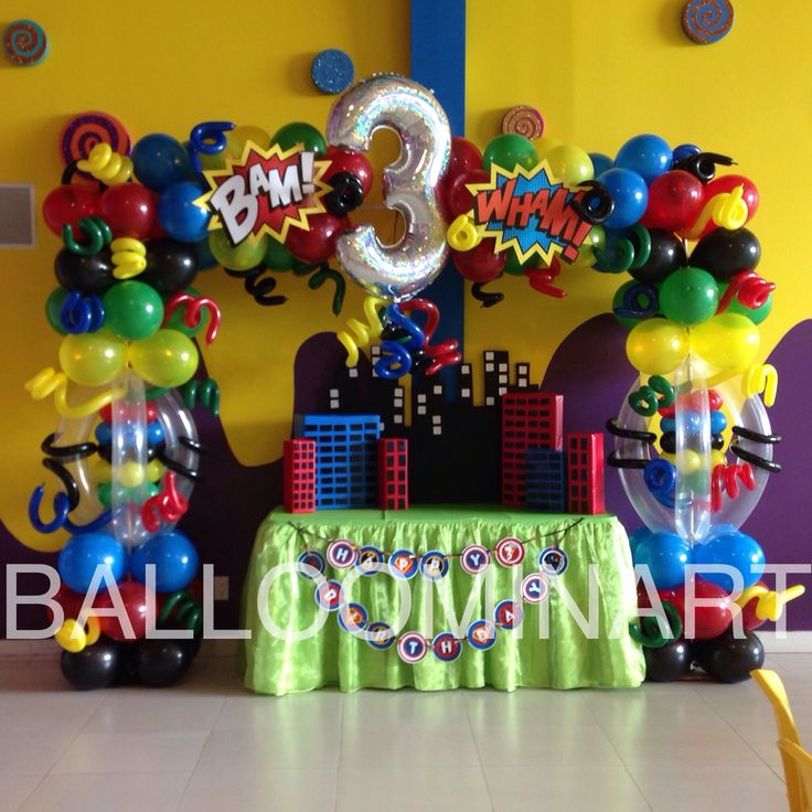 Super heroes balloon arch