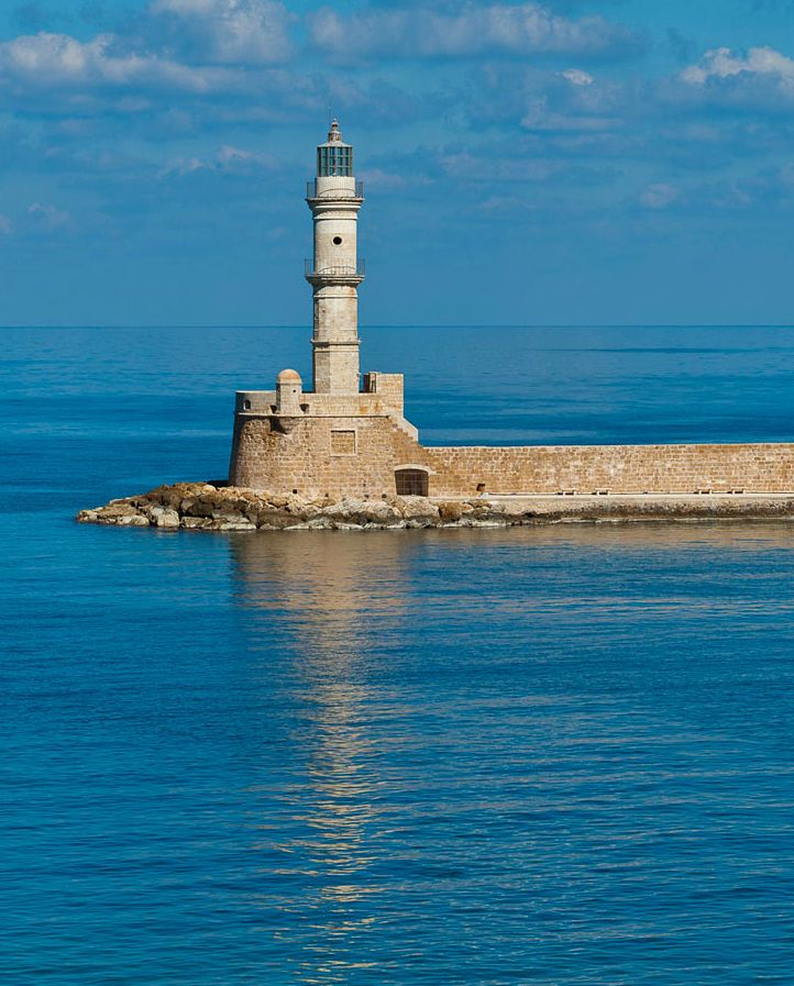 The famous lighthouse in Chania old harbor, Crete, Greece
