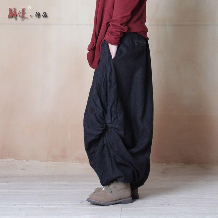 Women Pants 2015 Harem Pants Women's Twisting Wide Leg Pants Bloomers Original Design Elastic Waist Linen Pants Women Trousers