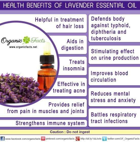 The health benefits of lavender essential oil include its ability to remove nervous tension, relieve pain, disinfect scalp and skin, enhance blood circulation and treat respiratory problems. The health benefits of lavender oil for the skin can be attributed to its antiseptic and antifungal properties. It is used to treat various skin disorders such as acne, wrinkles, psoriasis, and other inflammations.