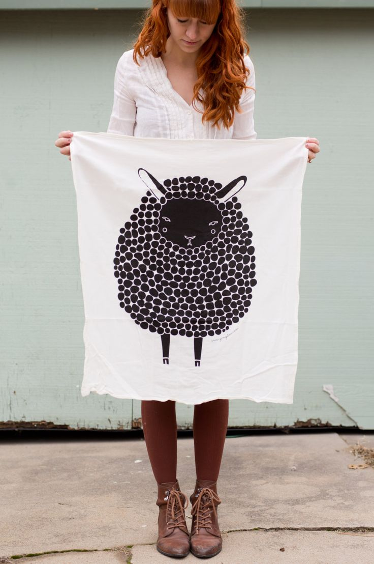 Black+Sheep+Tea+Towel+Printed+with+Eco+Friendly+Inks+by+Gingiber,+$18.00
