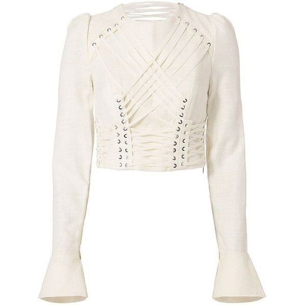 Zimmermann Women's Lace-Up Cavalier Top (£815) ❤ liked on Polyvore featuring tops, lace up long sleeve top, white top, white long sleeve top, eyelet crop top and long sleeve crop top