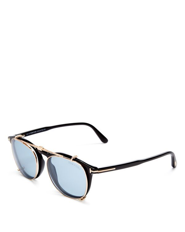 Tom Ford Optical Wayfarer Readers with Clip-On Sunglasses, 50mm