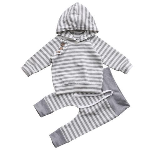 Toddler Infant Baby Boys Hooded Outfits Stripe Long Sleeve Top Pants Clothes Set