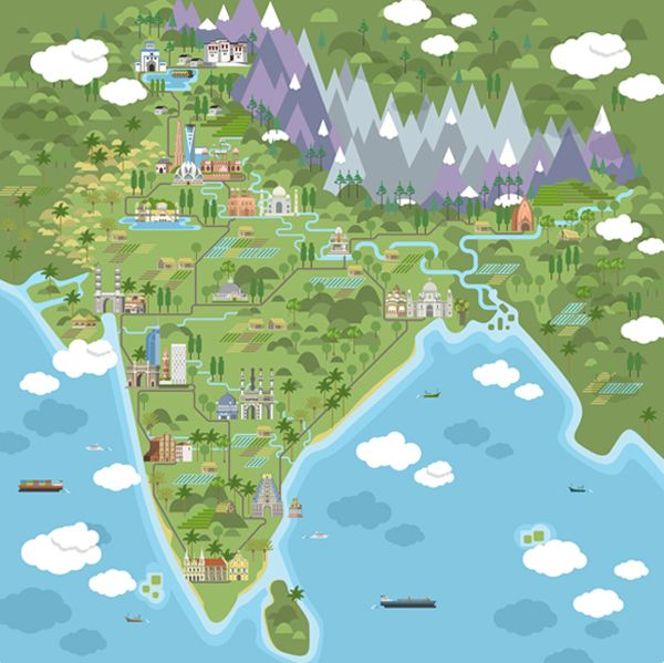 Illustrated map of India by Nikolay Volevski