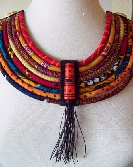 SALE 20% Off African Fabric Cord Bib Necklace by paintedthreads2
