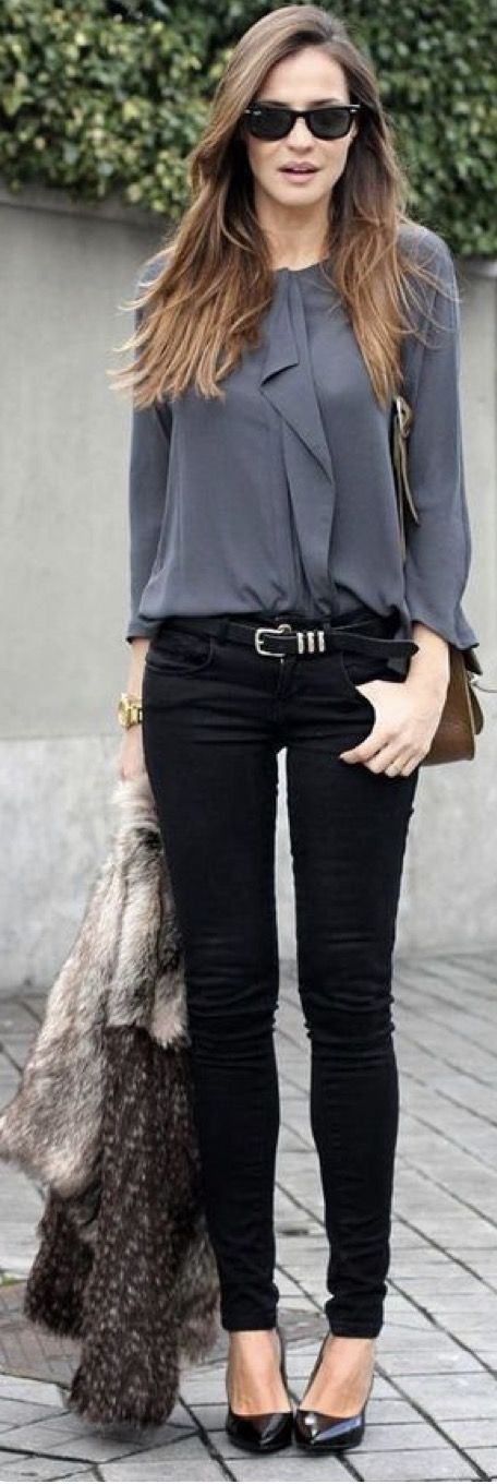 Stitch Fix Fashion 2017! Ask your stylist for something like this in your next fix, delivered right to your door! #sponsored #StitchFix Business attire. Grey top, black pants and belt