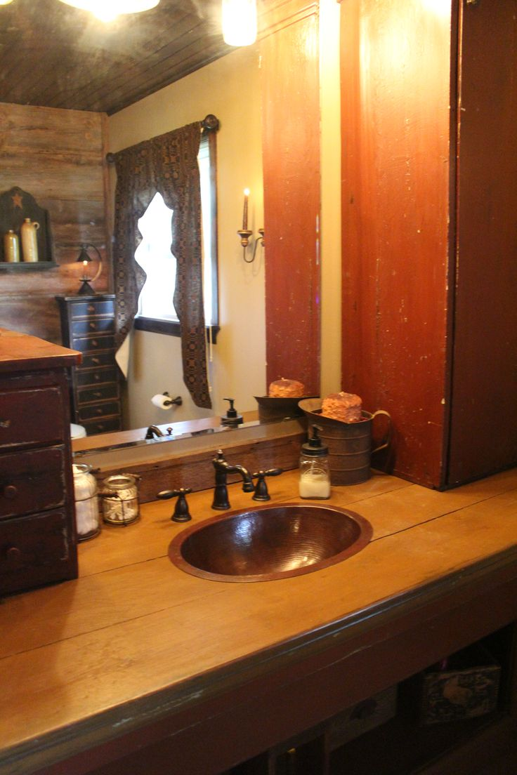 Primitive bathrooms - Primitive Decor Bathroom Sink Love How You Can See The Barn Wood Wall In The Reflection