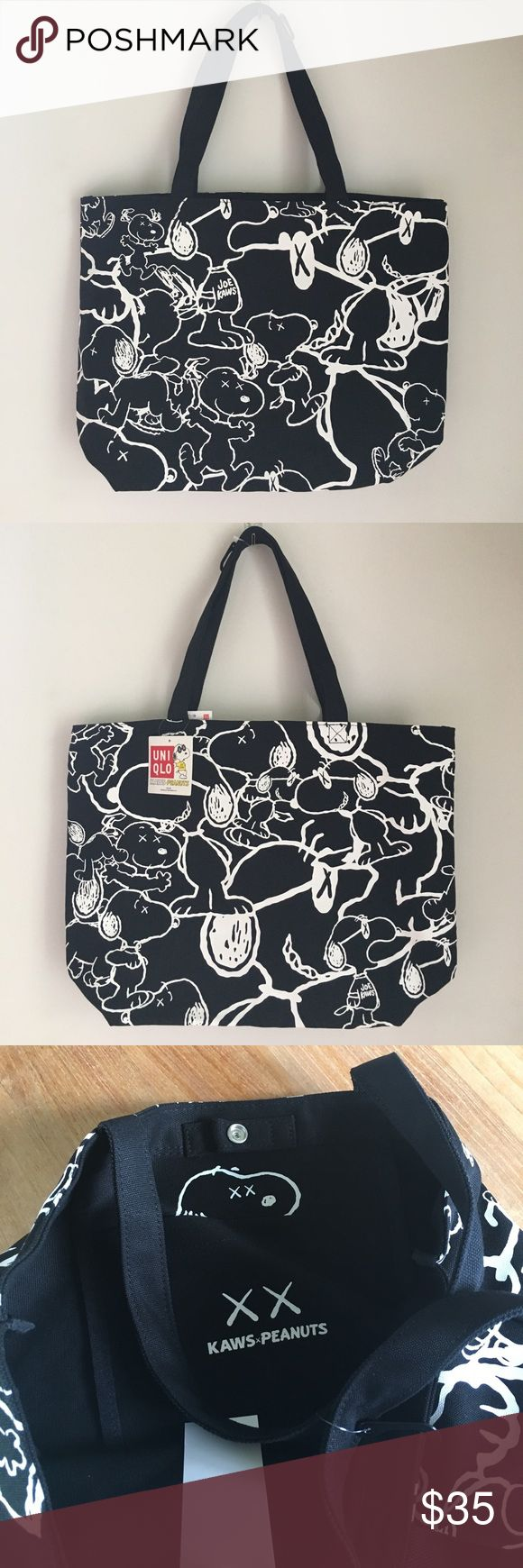 LTD EDITION KAWS x UNIQLO Tote Bag Sold out online. Brand new. KAWS is a graffiti artist turned respected modern artist like Banksy!  Great for any snoopy lover or urban hipster! Uniqlo Bags