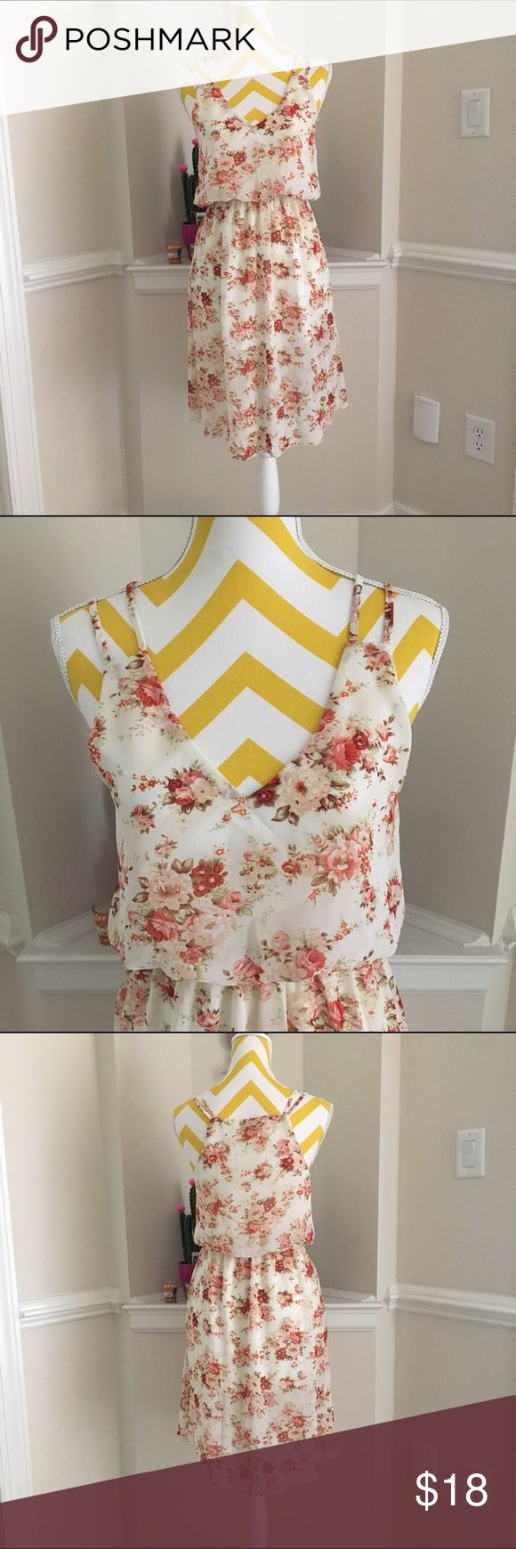 Chiffon midi summer dress Worn once, and in new conditions. Gartered waist. Lined. Color is like off white.flowy and gorgeous Tobi Dresses Midi