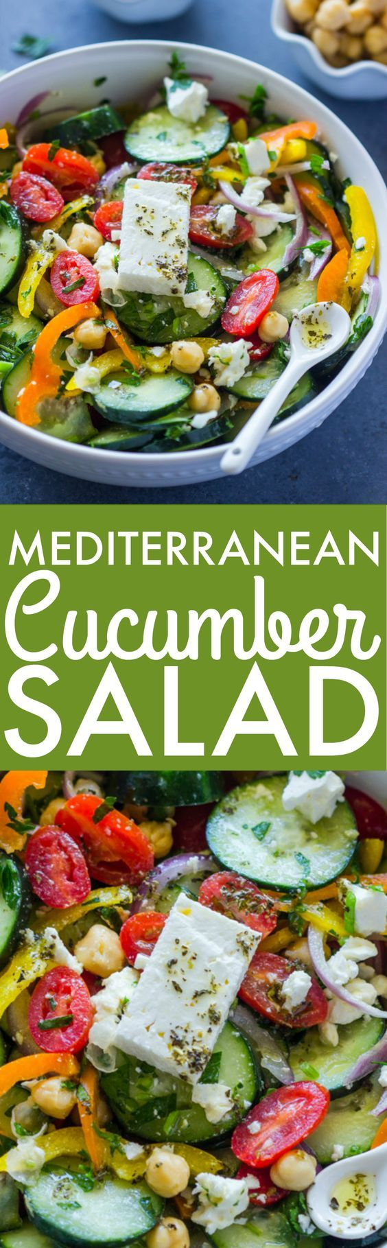 Mediterranean Cucumber Chickpea Salad is Packed with fresh veggies and topped with feta cheese and a Lemon Olive oil Dressing
