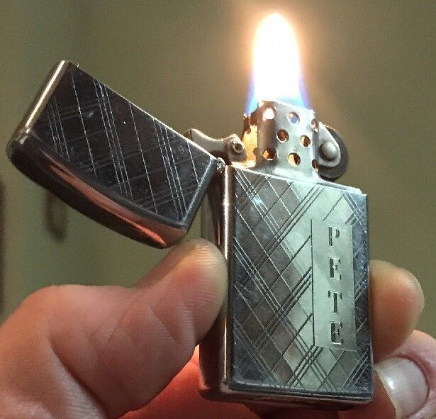 "1978 ""PETE"" CRISSCROSS ZIPPO SLIM WINDPROOF LIGHTER CHROME DEPENDABLE FLAME HDSA  