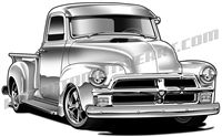 1954 chevy pickup truck 3/4 view