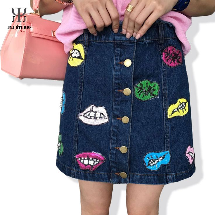 Aliexpress.com : Buy High Waist Denim Skirt Beading Mouth Denim Pencil Skirt Fluorescent Buttons Patchwork Women Denim Skirt from Reliable denim skirt baby suppliers on JYJ STUDIO