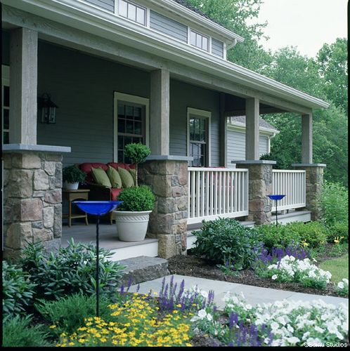 Post and Beam Farmhouse Porch by Yankee Barn Homes, via Flickr