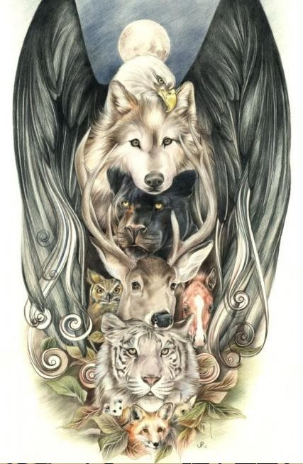 totem pole.. Love this image of nature's wildlife!  Dude this would make an awesome sleeve!!