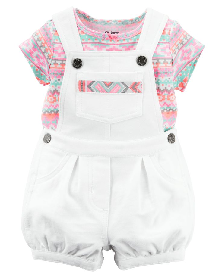 Baby Girl 2-Piece Tee & Shortalls Set | Carters.com