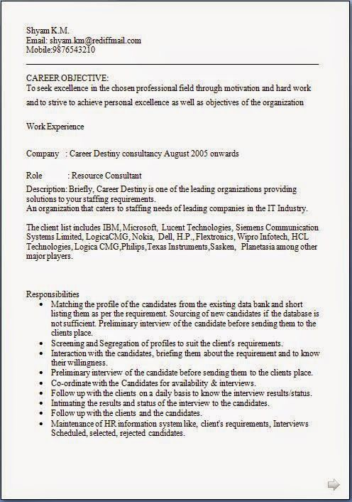 model de cv Sample Template Example of ExcellentCurriculum Vitae - wipro resume format