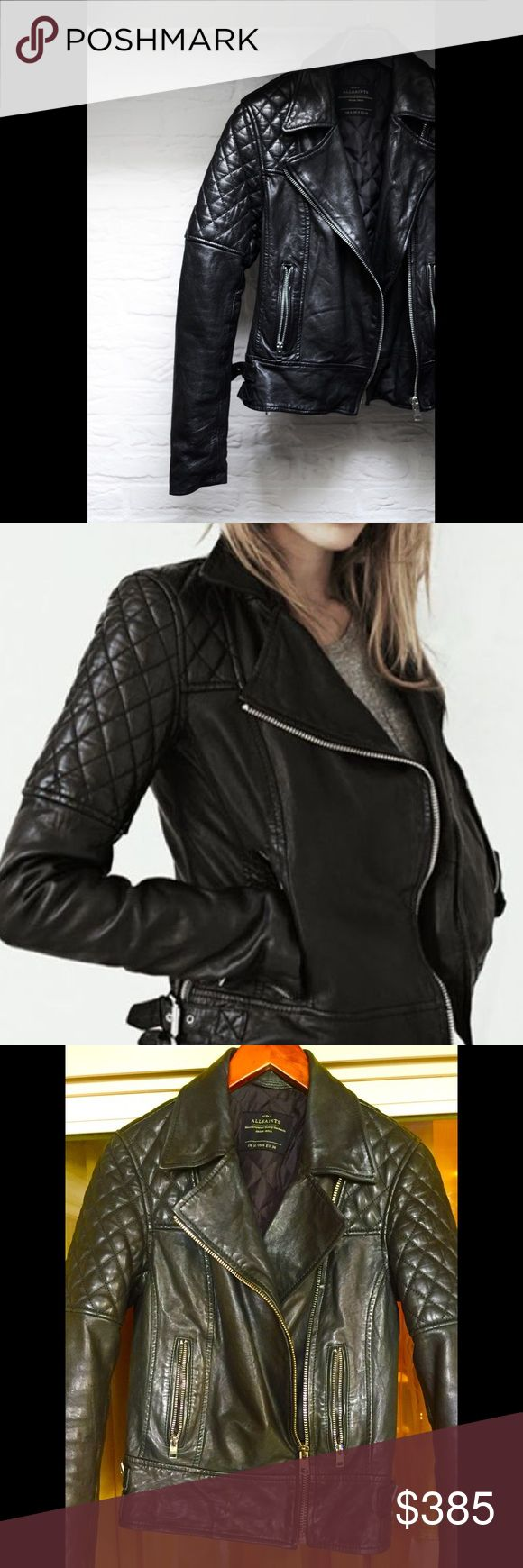"All Saints Black Biker ""Walker"" Jacket US 6 The perfect black Biker leather jacket Walker by All Saints. It is size US 6, fits like 4. Great condition, bought in 2016, no flaws! Naturally distressed, crafted in super-soft lamb leather that wears beautifully over time. Diamond-quilted shoulder panels and zip cuffs add classic biker detail, while the specially tanned leather offers a soft, flexible fit. Quilted, 2 zip pockets AllSaints logo-zips. Specially tanned leather for a soft, flexible…"