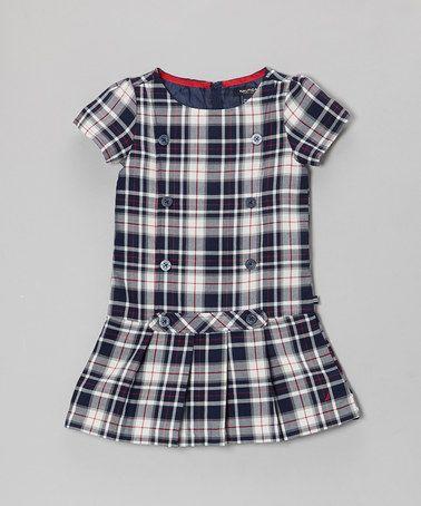 Love this Navy Blue & White Plaid Jumper Dress - Infant, Toddler & Girls on #zulily! #zulilyfinds