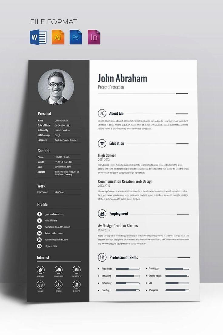 Minimal Creative Resume Cv Elegant Clean Creative Modern High Class Clean Creative Resume Template Free Resume Design Creative Creative Resume Templates