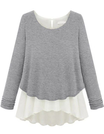 Grey Long Sleeve Ruffles Chiffon Sweater US$27.62