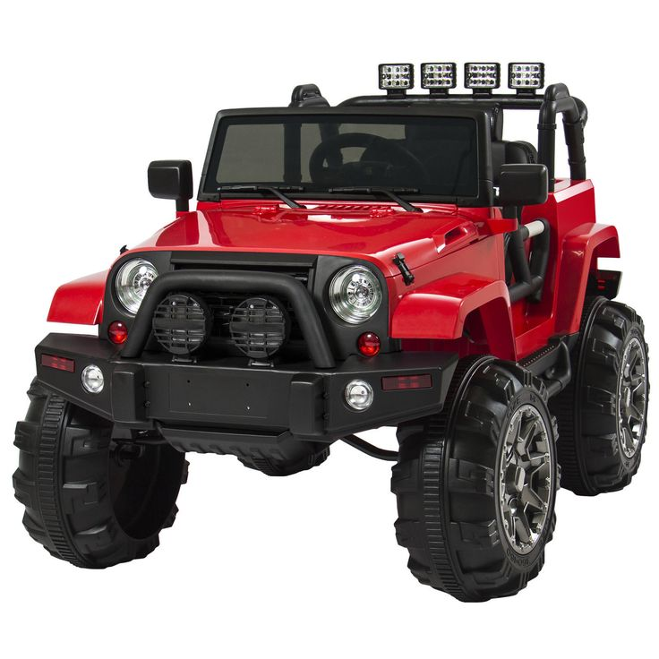 Kids Jeep Battery 12V Ride On Car Truck Remote Control 3 Speed LED Lights Red