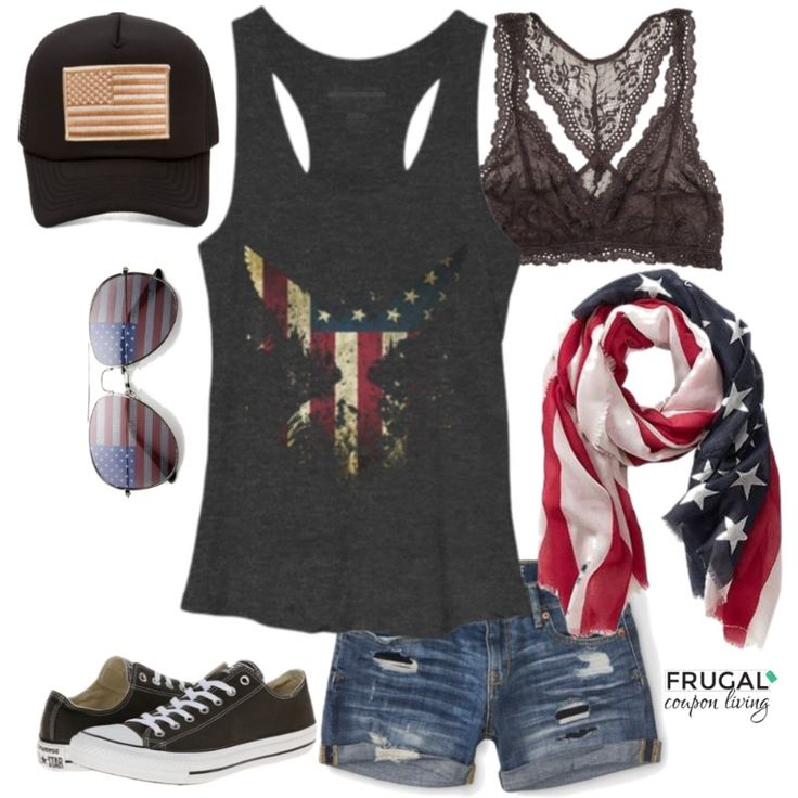 Frugal Fashion Friday Fireworks Outufit. Polyvore Style for Pinterest. Fourth of July Outfit.