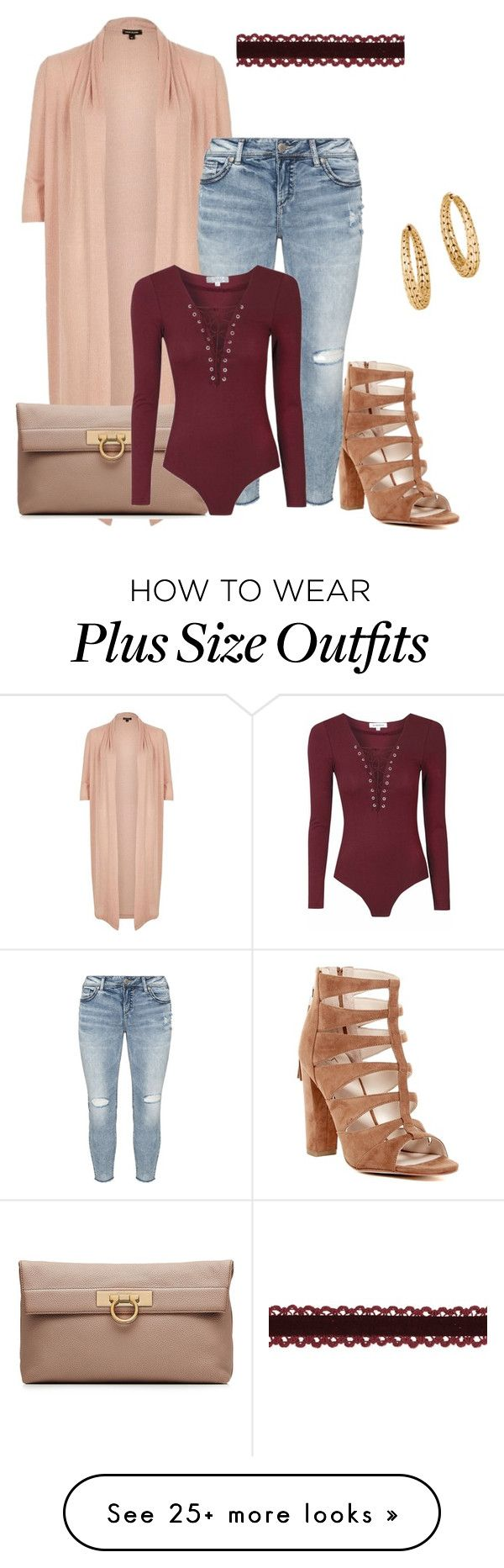 """Plus size fall chic"" by xtrak on Polyvore featuring Marc Fisher, River Island, Salvatore Ferragamo, Silver Jeans Co. and John Hardy"