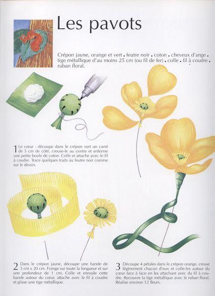 129 best fleurs en papiers images on pinterest paper - Fleur en crepon ...