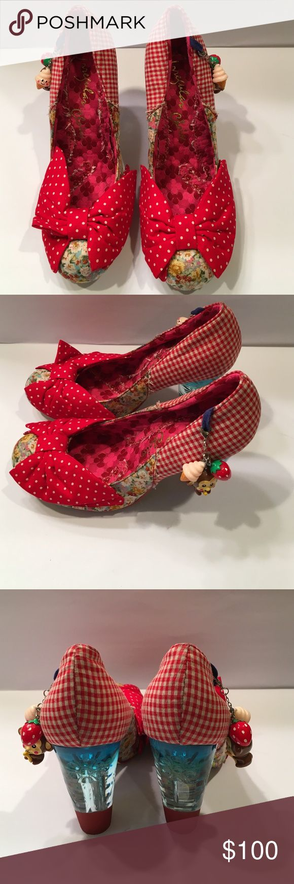 Irregular Choice heels size 40.5 Red Irregular Choice heels size 40.5 with monkey, ice cream, and strawberry charm crystal blue heels Irregular Choice Shoes Heels