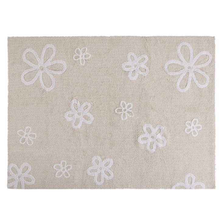 Lorena Canals * Flowers * Washable Children's Rug - Machine Washable, Perfect for the Nursery - Handmade from 100% Natural Cotton and Non-Toxic Dyes (Beige)