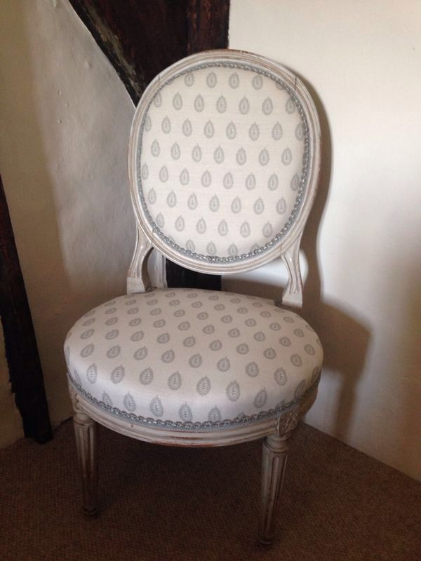 French chair in Hannah Watchorn England fabric