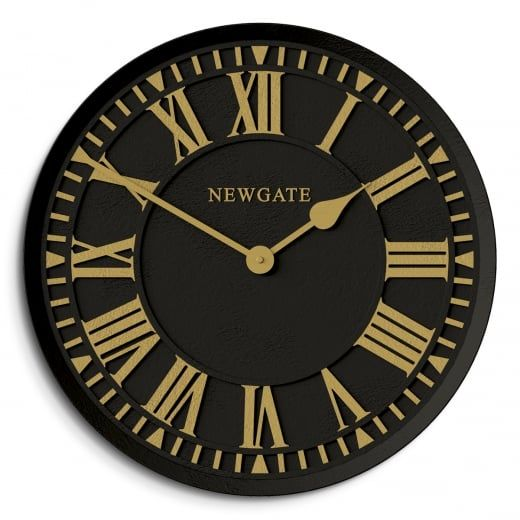 Exceptional Newgate Clocks The Coach House Indoor / Outdoor Wall Clock   Black U0026 Gold