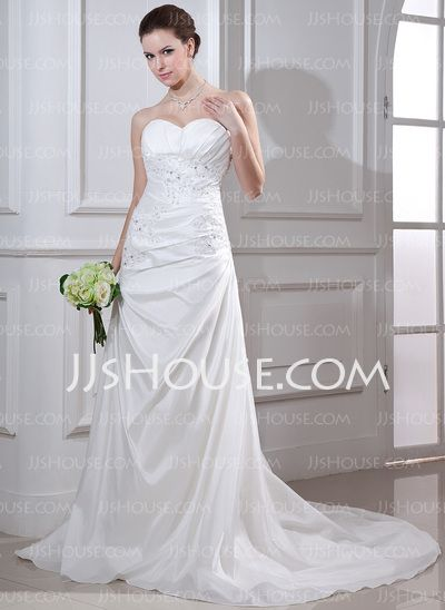 Wedding Dresses - $186.99 - Mermaid Sweetheart Court Train Taffeta Wedding Dress With Ruffle Lace Beadwork (002012668) http://jjshouse.com/Mermaid-Sweetheart-Court-Train-Taffeta-Wedding-Dress-With-Ruffle-Lace-Beadwork-002012668-g12668
