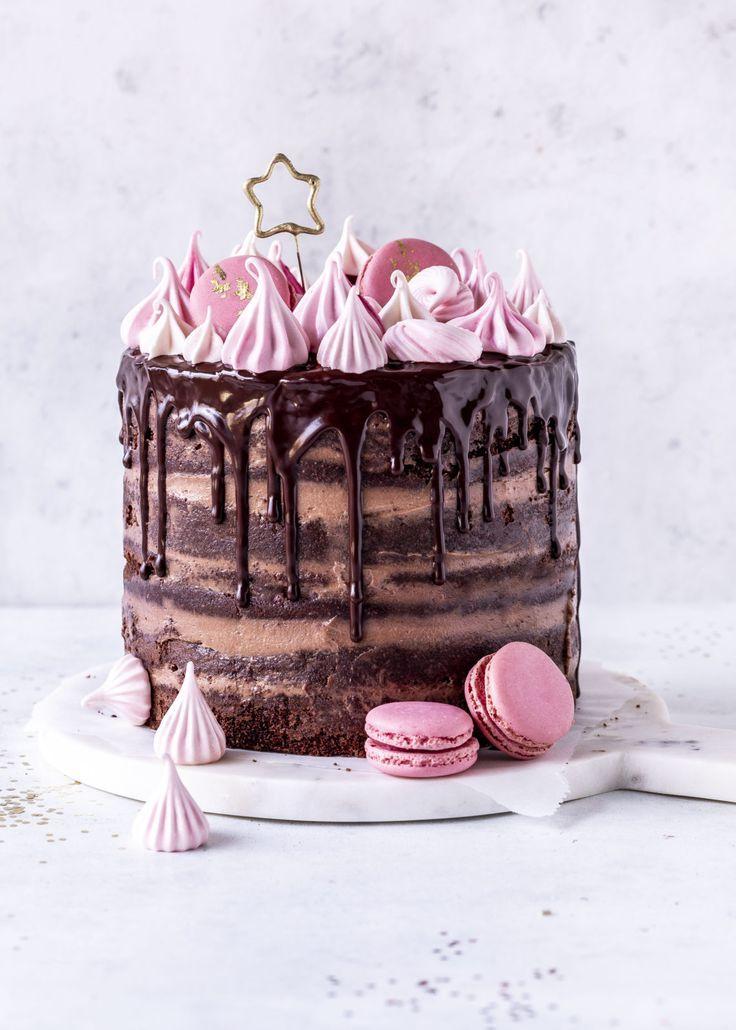 Nutella Naked Drip Cake Rezept Tarte Schokolade Geburtstagstorte Bake Meringue Muffin   – food and drinks