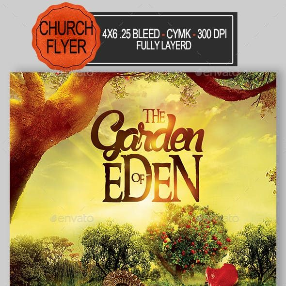The Garden Of Eden Church Flyer In 2020 Church Graphics Church Design Template