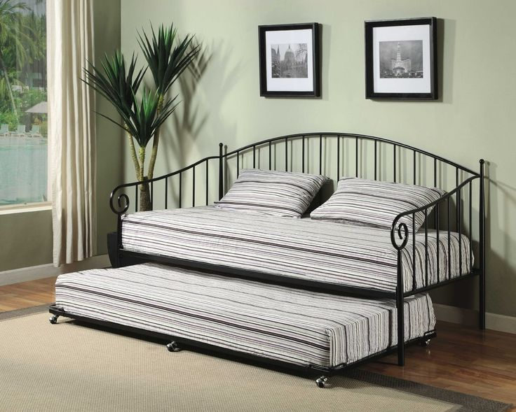 Matt Black Metal Twin Size Day Bed (Daybed) Frame With Metal Slats:  Furniture - Best 25+ Trundle Beds For Sale Ideas On Pinterest Daybeds For