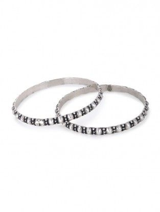Classic Silver Bangles Set of 2 (Bangle Size -2/4)