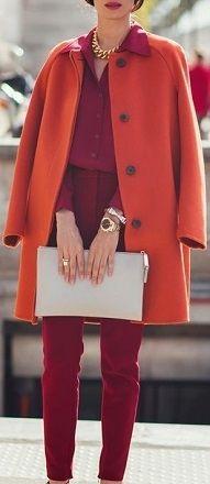 casaco de cores quentes - papaya
