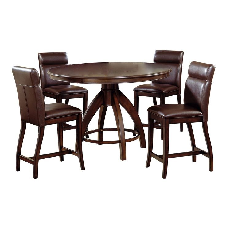Hillsdale Furniture Nottingham 5 Piece Counter Height Dining Set In Dark Walnut Finish