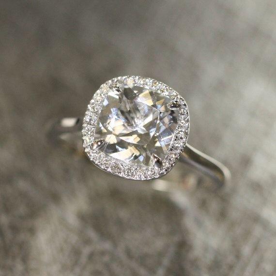 Cushion White Topaz and Diamond Halo Engagement Ring in 14k White Gold 8x8mm Cushion White Gemstone Ring (Bridal Wedding Ring Set Available) by LaMoreDesign on Etsy https://www.etsy.com/listing/191582104/cushion-white-topaz-and-diamond-halo